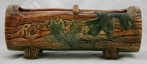 """Weller Woodcraft 4"""" x 11"""" Rustic Log Planter In Woodcraft Colors With Oak Leaves"""
