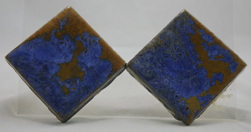 "Flint Faience Tile Works 3"" Tiles (2) with Fabulous Crystalline Glazes c1921-33"