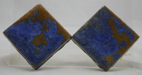 """Flint Faience Tile Works 3"""" Tiles (2) with Fabulous Crystalline Glazes c1921-33"""