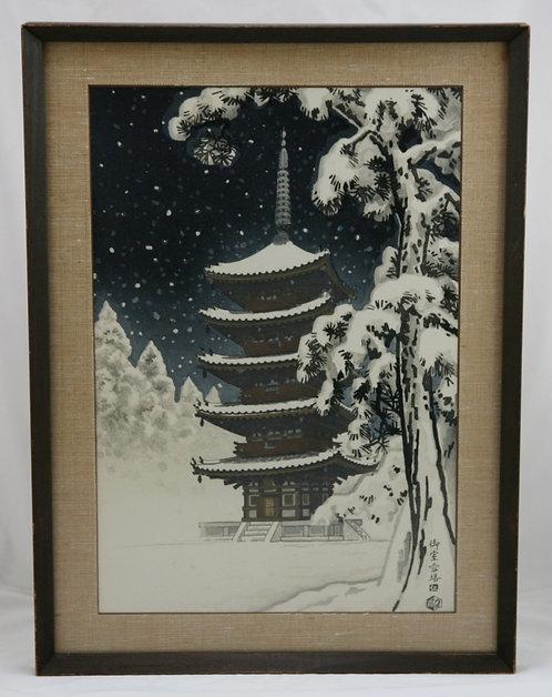 Nisaburo Ito (1910-1988) 'Pagoda of  Ninnaji Temple in Snow'