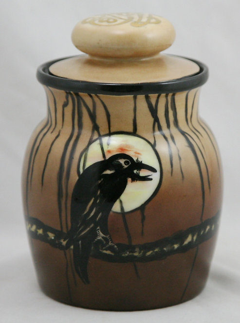 American China-Painted Bavarian Covered Jar with Owls/Moon Motif Dated 1914