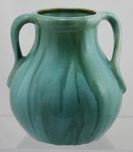 "Weller Nile 8"" Vase in Great Organic Green Striated Glazes"