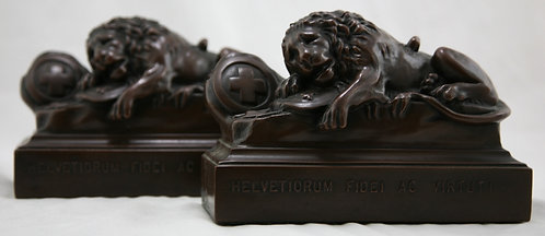 Jennings Brothers 'Lion of Lucerne' Bookends JB1570 c1925