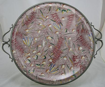 """Vernon Kilns 19.5"""" (16.5"""") Chop Plate Metal Frame Disney Fantasia Autumn Ballet"""