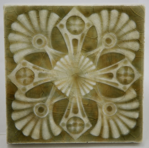 "Providential Tile Works 4.25"" Square Tile with Spiral Blossoms in Green Glaze"