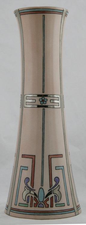 "Lenox Belleek 12"" China-Painted Art Deco Vase With Geometric Designs d1937"