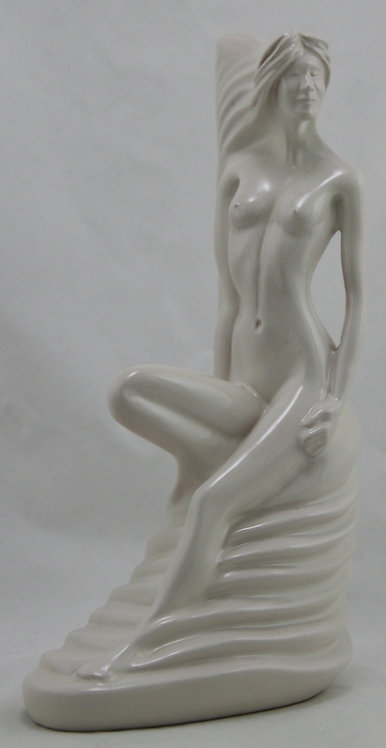 "Frankoma 11"" Nude 'Nymph of the Oak Tree' #224 By Gerald Smith Ivory/White Glaze"