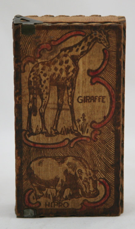 $OLD! Flemish Art Co. NY Pyrography Child's Pencil Box with Animal Motif c1900