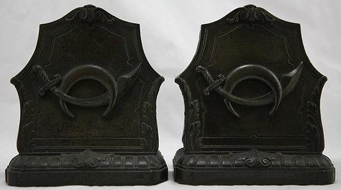 Unknown 'Mason's Scimitar & Crescent Symbols' Bookends c1930