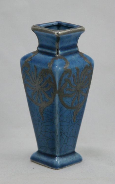 Art Deco Miniature Silver Overlay Pottery Vase Spider Mums Blue Crackle Glaze