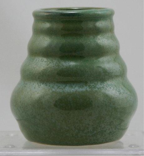 "$OLD! TY! Fulper 3.5"" Ribbed Vase 1917-1934 Green Crystalline Glazes Mint F540"