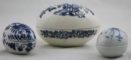 $OLD! TY! Egg Trinket Boxes: Mason's England, Delft Blue, and Bing & Grondahl
