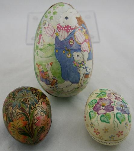 Paper Mâché Easter Bunny Egg Box & Two Kashmiri Paper Mâché Egg Trinket Boxes