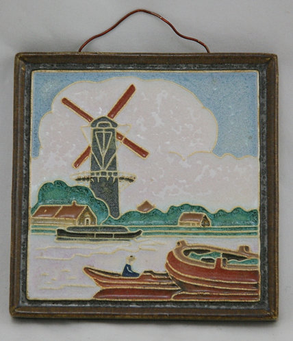 Holland de Porceleyne Fles Windmill Harbor Seaport Royal Delft Cloisonne Tile