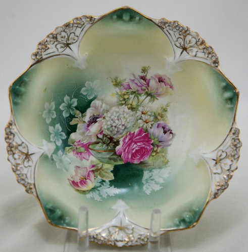 R.S. Prussia German Porcelain Gilt Decorated Clover 4-Footed Bowl