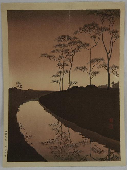 Shoda, Koho (1871-1946) The Night Scene Series: 'A Country Scene' #1255 in Sepia