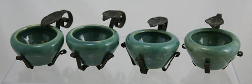 Zanesville Stoneware Set of Nut Dishes with Rare Metal Stands c1940s