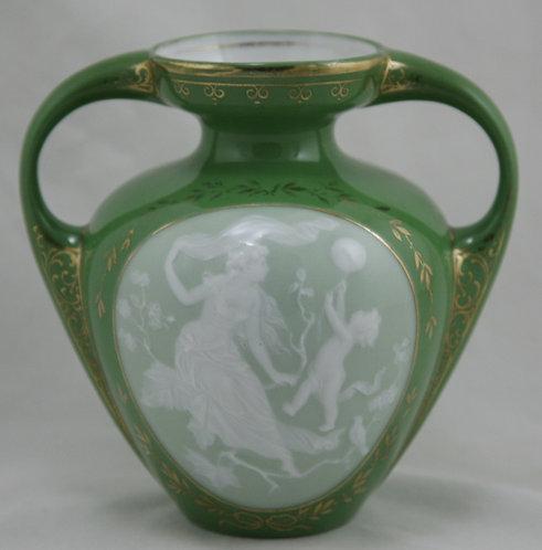 Heubach German Porcelain Pâte-Sur-Pâte Vase With a Woman and a Baby  Gold Floral