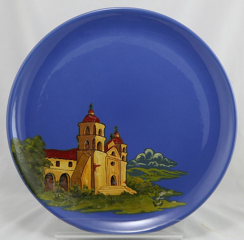 "Metlox Poppytrail 14"" Charger with Carmel's Spanish Mission Scene Hand Decorated"