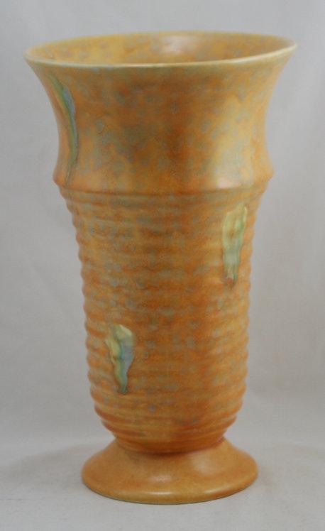 Beswick Ware England Art Deco Ribbed Vase in Mottled Orange and Green Glazes