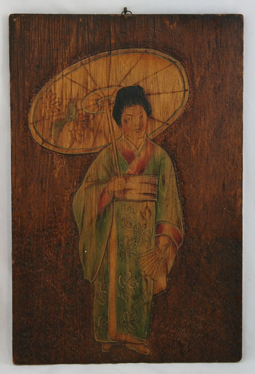 Flemish Style Pyrography Plaque of a Japanese Courtesan/Geisha c1905
