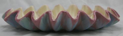 Royal Haeger Early Mauve Agate Ruffled Edge Center Bowl Gorgeous Glazes