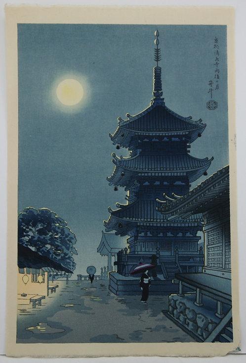 Benji Asada (1899-1984) Moon Over Kiyomizu Temple