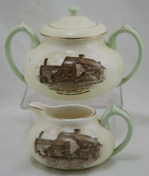 Hampshire Pottery Sugar & Creamer Oldest House, Edgartown, Mass Marthas Vineyard