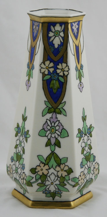 "Lenox Belleek 9.5"" China-Painted Art Deco Hexagonal Vase Floral Motif d1962"