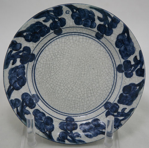 """$OLD! TY! Dedham Pottery 6"""" Grapes Plate By Maude Davenport in Crackled Glaze"""