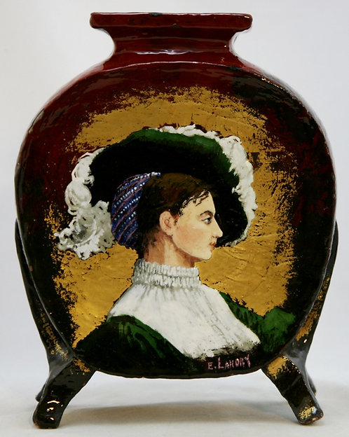"French Faience Pottery 10"" Portrait Pillow Vase by E. Landry c1880s"