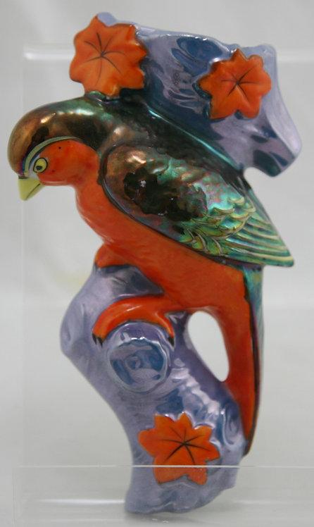 """Japanese Lustre 8"""" Bird Wallpocket in Vivid Colors & Orange Leaves"""
