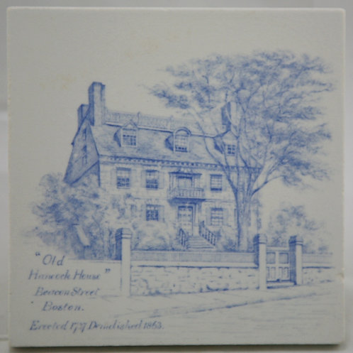 "Minton China Works 6"" Tile Transfer 'Old Hancock House' Boston c1895"