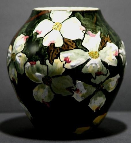 John Bennett NYC Dogwood Blossoms in Snow Vase c1880s Mint