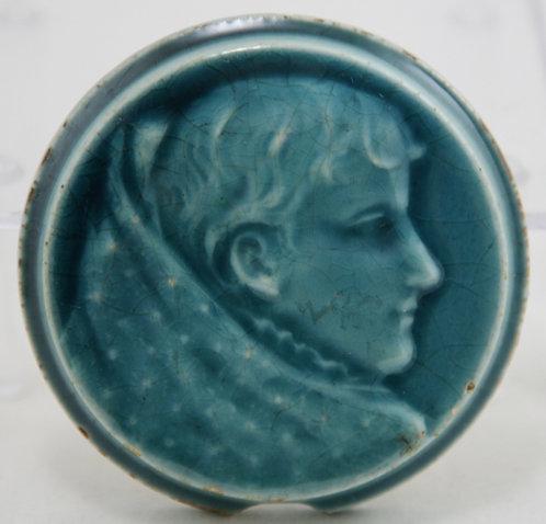 "Trent Tile Co. Lady Portrait 2"" Round Stove Tile in Blue Glaze"