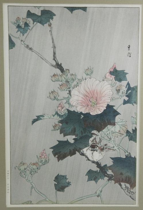 Yoshimoto Gesso (1881-1936) 'Hibiscus in the Rain'