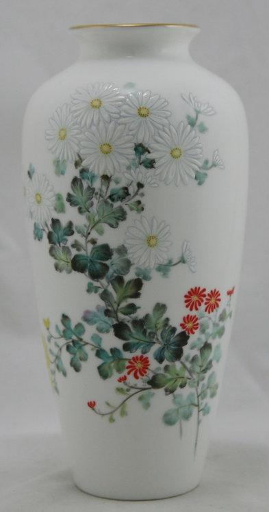 Noritake Japanese Bone China Hand-painted Vase with Enamel Blossoms c1950s