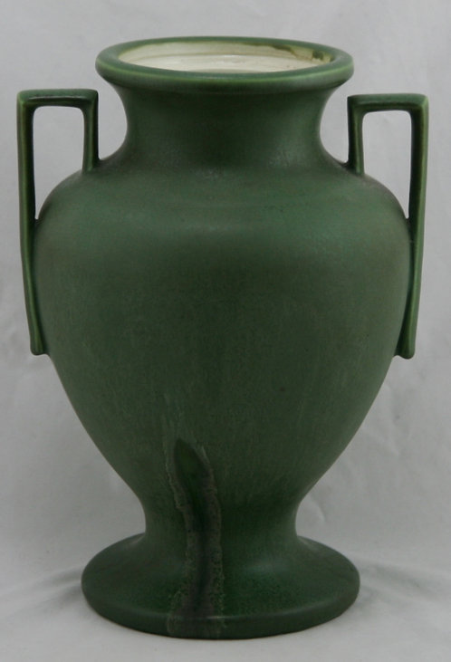 "Hampshire 10.5"" Arts & Crafts Vase In Rich Matte Green W/Boxy Handles"