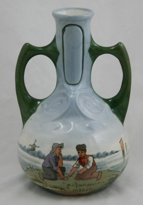 Wilhelm Schiller & Sons Bohemia Austria Dutch Majolica Vase c1890s