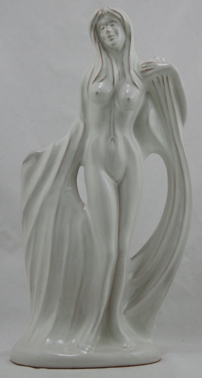"Frankoma 12.5"" Nude Figure W/Drapes Gerald Smith Signed #139 In White Mint"