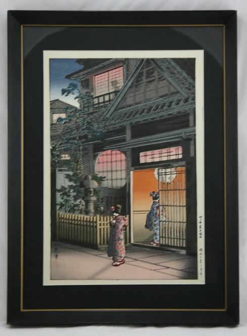 $OLD! TY! Tsuchiya Koitsu (1870-1949) 'Teahouse Yotsuya Arakicho at Night'
