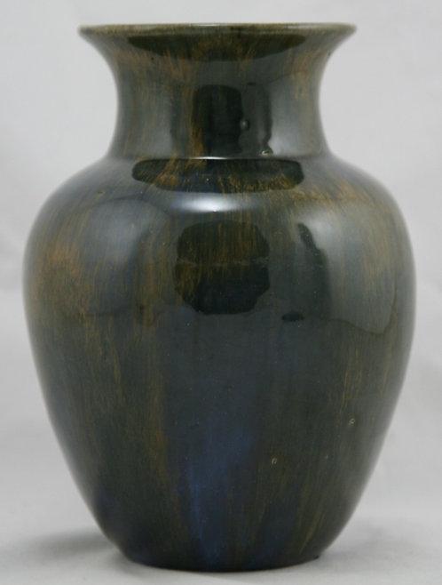 "Fulper 7"" Classic Vase #537 Mahogany/Blue/Yellow Flambe Glaze Factory Mint F262"