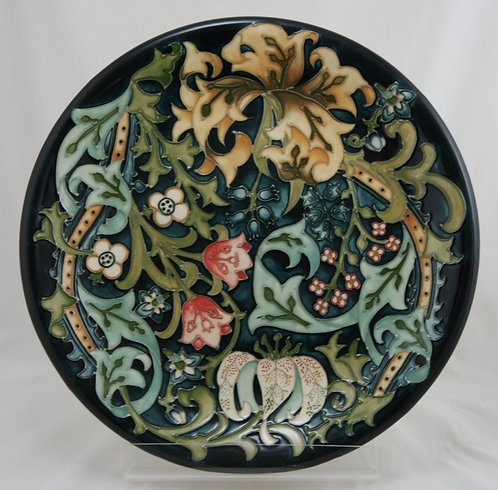 William Moorcroft Wall Charger 'Golden Lily' Designed by Rachel Bishop d1994