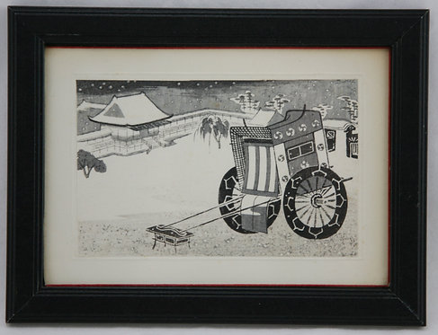 Ito, Nisaburo (1910-1988)  'Silver/black Rickshaw in a Snowy Landscape'