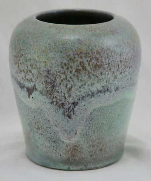 North State Pottery Vase In Organic Aqua & Plum Glazes Sanford, NC