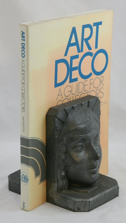 Art Deco Ladies' Faces Gray Spelter Bookends c1930