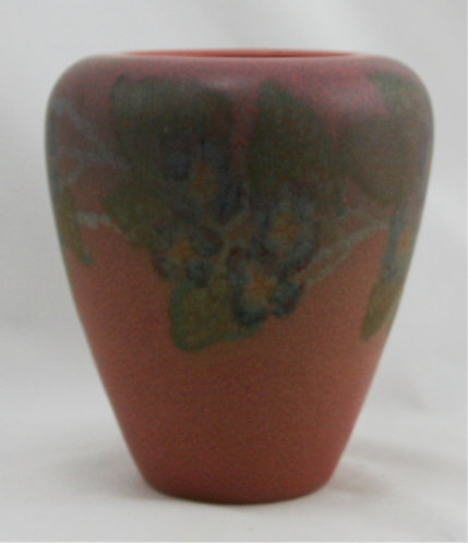 """Rookwood Decorated/Painted Mat 6"""" Vase 1928 Blossom Motif By Miss Louise Abel"""