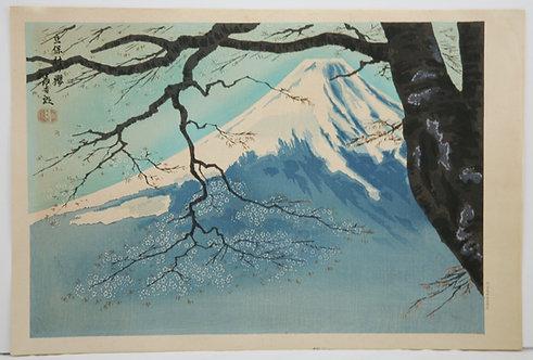 Tomikichiro Tokuriki 'Mt. Fuji and Cherry Blossoms at Tateho'
