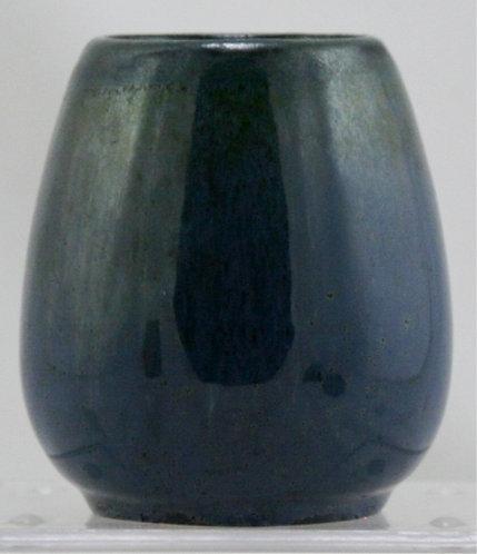 "Fulper 4"" x 3"" Vase c1917-1934 in Stormy Blue Flambe Glazes Mint F223"