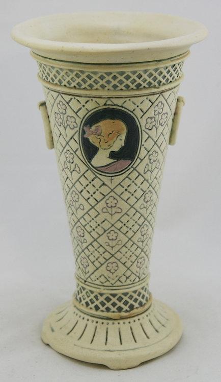 "Weller Ethel 10.5"" Trumpet Vase W/Cameos Named For Weller's Daughter Ethel"